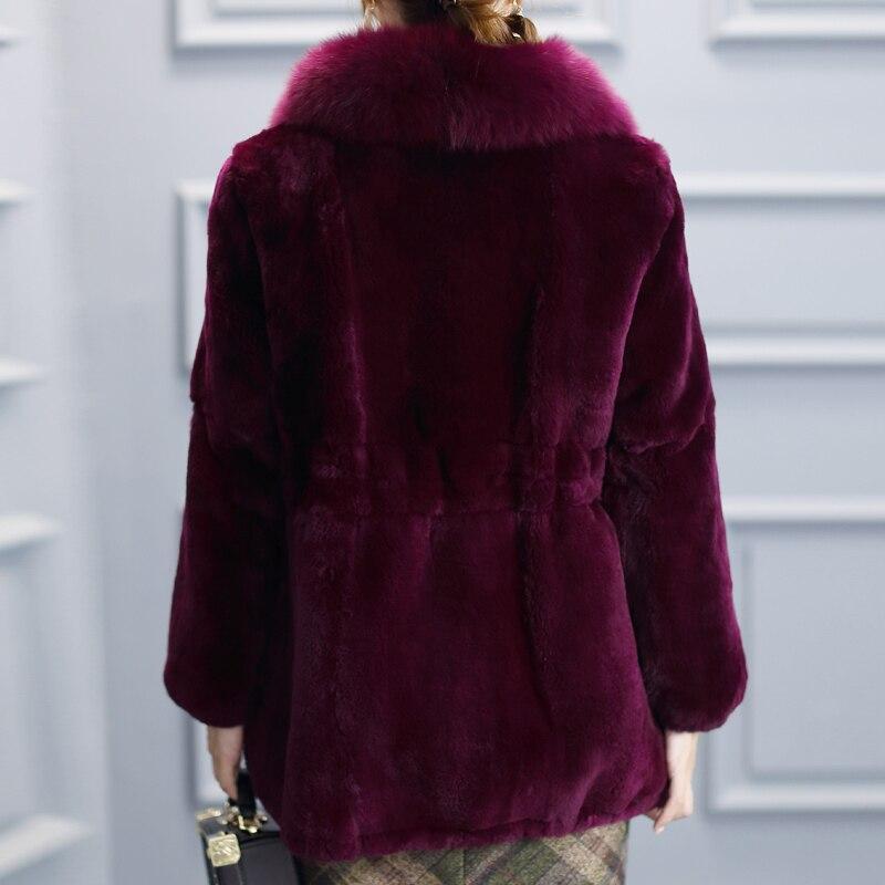 Real Fur Coat Female Winter Natural Fox Fur Collar Jacket Women Vintage Rex Rabbit Fur Tops Korean Warm Ladies Coats Hiver TT001