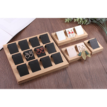 3 Pair Earring Cards, Velvet/Leatherette Bamboo Earrings Display Card Holder for Jewelry Accessory Display, 3 Colors
