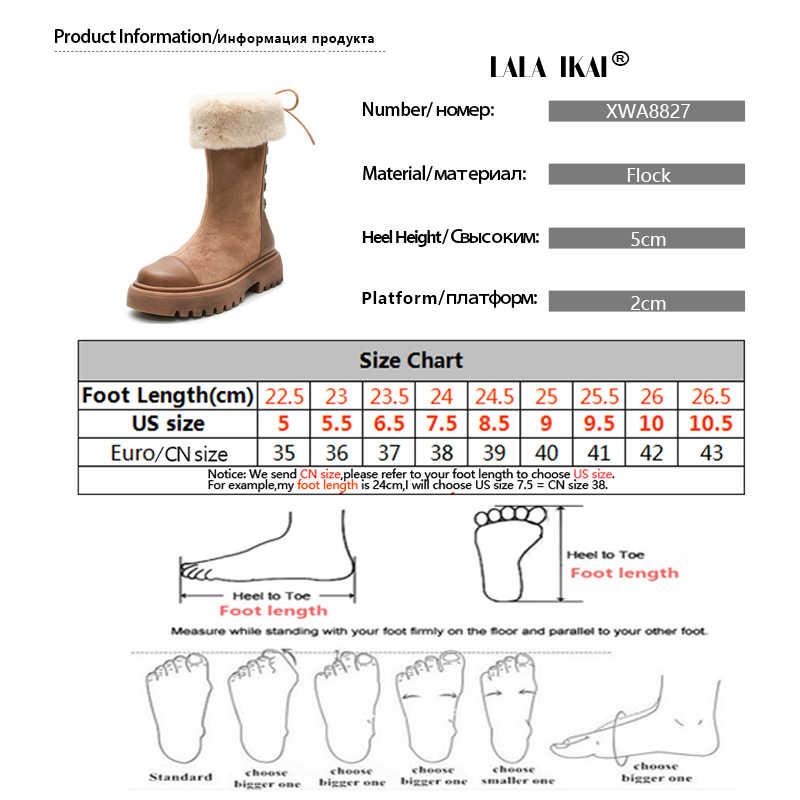 LALA IKAI yarım çizmeler kadınlar kış akın sıcak peluş ayakkabı Patchwork kar botları kadın platformu dantel-up zapatillas mujer WA8827-4