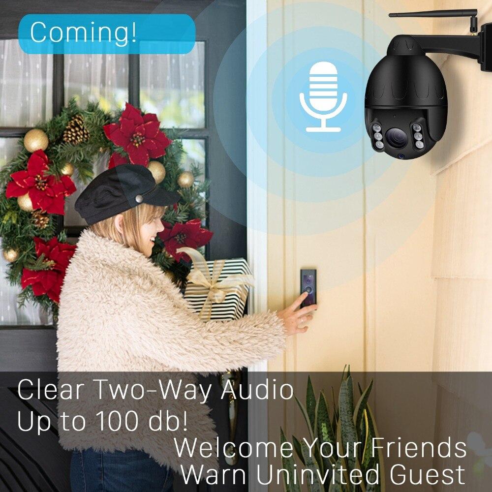 Nadzór zewnętrzny kamera IP66 wodoodporny Mini bezprzewodowy PTZ 5X Zoom optyczny 1080P HD Wifi dwukierunkowy dźwięk 50M Night Vision