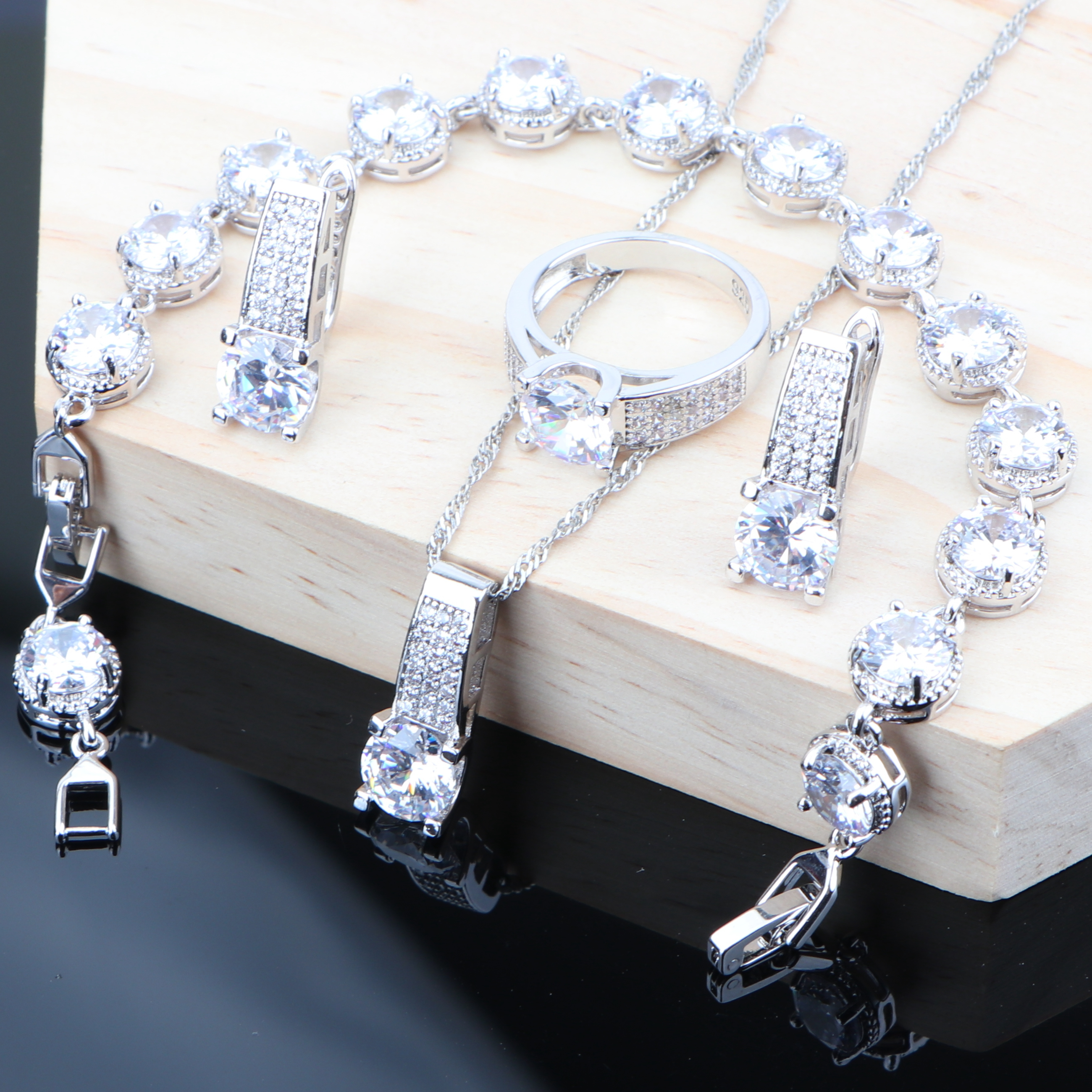 925 Silver White Cubic Zirconia Costume Jewelry Sets For Women Wedding Earrings Bracelet Bridal Jewelry Ring Necklace Sets