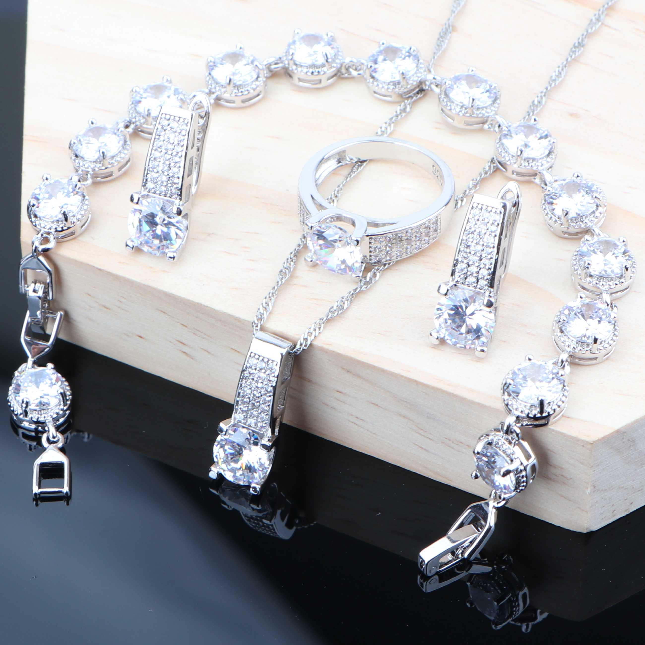 925 prata branco zircônia cúbica conjuntos de jóias de fantasia para mulheres brincos de casamento pulseira de anel de jóias de noiva colar conjuntos