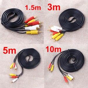 10m/5m/3m/1,5 m 3 RCA Cable de vídeo compuesto de hombre a hombre 3RCA a 3RCA de Audio Video AV Cable de alambre para alta fidelidad, Video DVD reproductor de CD