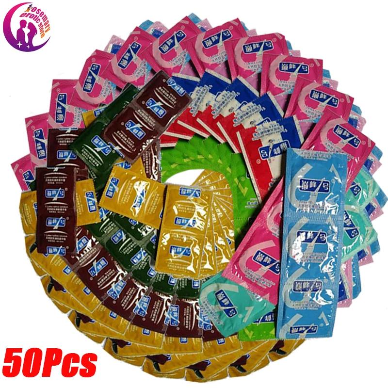 50 Uds preservativos para adultos grandes condones de aceite suaves lubricados condones para hombres anticontrol de pene juguete sexual erótico íntimo al azar