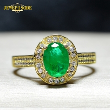 Jewepisode Solid 925 Sterling Silver 6x8MM Emerald Gemstone Rings for Women Men Vintage Gold Color Fine Jewelry Ring Wholesale kingsman the secret service custom signet rings for men women 925 sterling silver gold color jewelry customize free engraving