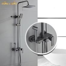 Luxury brass gunmetal shower mixer rainfall big flat shelf shower tap gun metal bathtub shower tap hot and cold brass shower