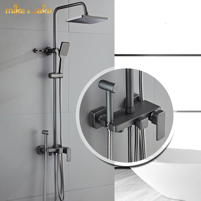 Mezclador de ducha de bronce de lujo, mezclador de ducha de lluvia, estante plano grande, pistola de grifo de ducha de bañera de metal, ducha de latón frío y caliente