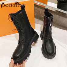 Martin Boots SOPHITINA Shoe-Po846 Round-Toe High-Platform Zipper Punky-Style Genuine-Leather
