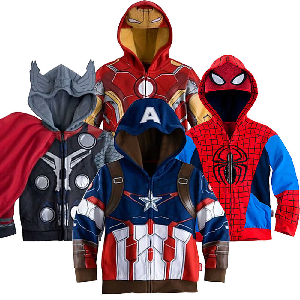 The Avengers Boy Hoodies Captain America Iron Man Batman Little Pony Spider-Man Coats For Boys Full Sleeve Kids Clothes