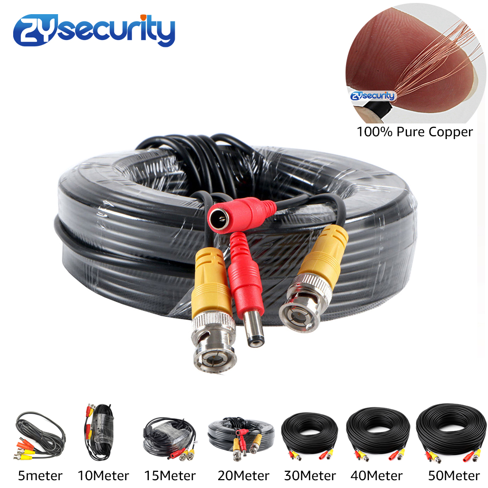High Quality BNC Video Cable Security CCTV Camera Wire DC Power Copper Cored Line AHD TVI CVI Surveillance DVR System Instal