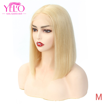 YELO Hair Products 13X4 Lace Frontal Short BoB Wigs 150% Density 613# Remy Human Hair Brazilian Straight Wig For Women image