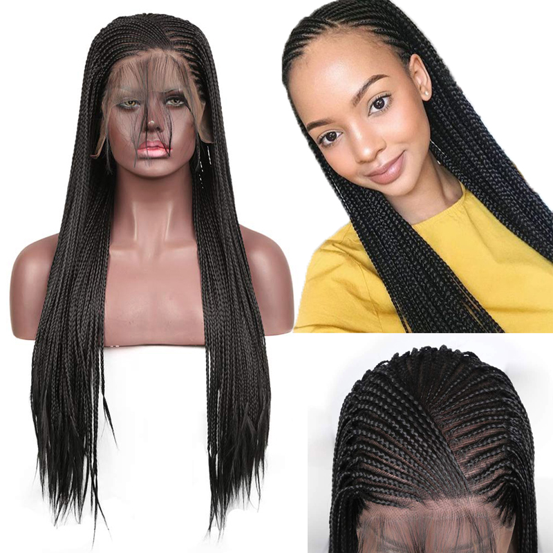 RONGDUOYI 13x6 Lace Black High Temperature Fiber Hair Braide Synthetic Lace Front Wig With Baby Hair Long Braids Wigs For Women