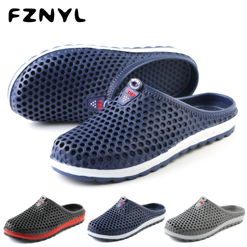 FZNYL Men Summer Sandals Outdoor Comfortable Soft Hole Shoes Male Breathable Casual Non-Slip Beach Slipper Wading Footwear