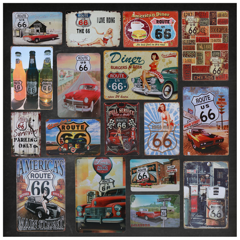 US Route 66 Vintage Tin Sign Tintin Bar Pub Up Metal Plate Poster Wall Decor Signs Painting Service Retro Stickers 8x12 Inch H19