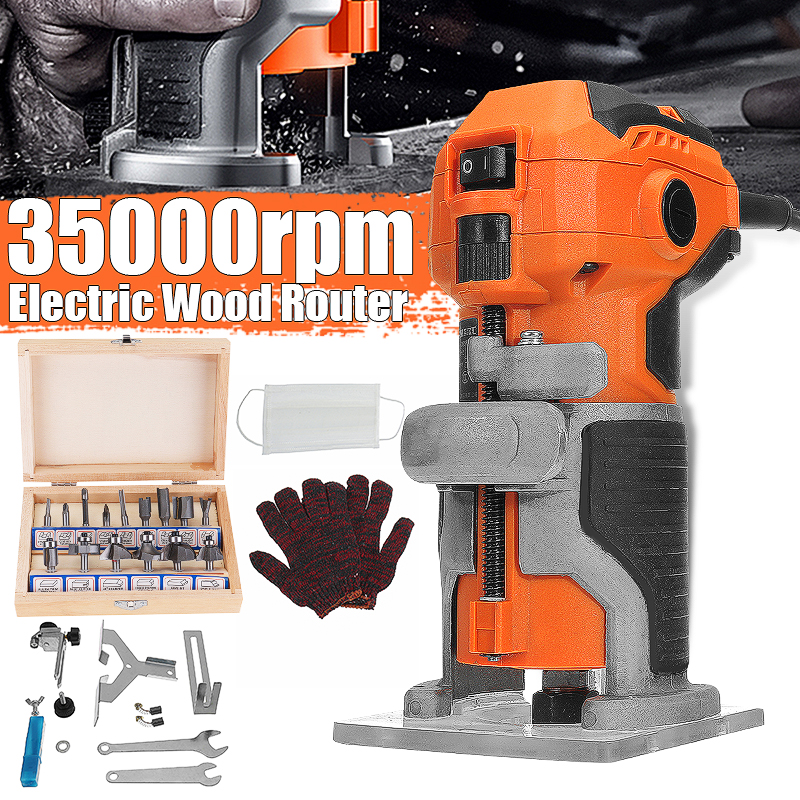 MPT Wood Electric Trimmer Woodworking Wood Milling 1280W 35000r/min Electric Hand Trimmer Wood Laminator Router Edge Joiners Set