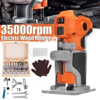 Mpt madeira elétrica trimmer carpintaria madeira moagem 1280 w 35000r/min elétrica mão trimmer laminador de madeira roteador borda marceneiros conjunto|Aparadores elétricos| |  -