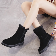 ZSAUAN Zip Winter Women Snow Boots Short Ankle Russian Female Lady Warm Furry Shoes Cow Suede Leather Women's High Top Boots zip back cold shoulder suede top
