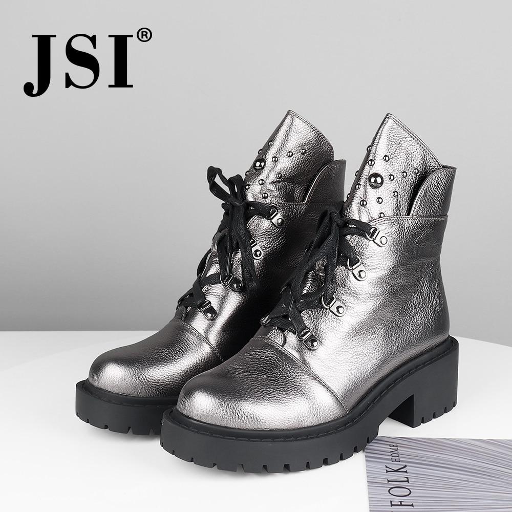 Jsi mulheres botas de tornozelo de couro genuíno nova venda quente sólida mid heel sapatos moda básica metal decoração dedo do pé redondo senhora botas jm42 - 3