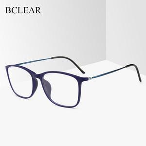 Image 1 - BCLEAR модная оправа для очков TR90 для мужчин и женщин, ультралегкие квадратные простые очки унисекс, Мужская оптическая оправа, очки, Лидер продаж