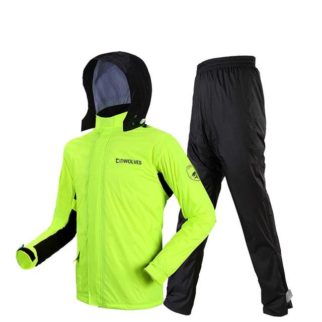 Adults Thin Raincoat Rain Pants Suit Green Waterproof Suit Motorcycle Rain Coat Jacket Outdoor Men and Women Hiking Set Gift