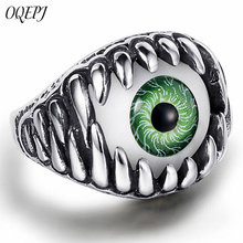 OQEPJ Vintage Monster Teeth Evil Eye Rings Stainless Steel Creative Green Eyes Shape Ring Men Personalized Jewelry For Party
