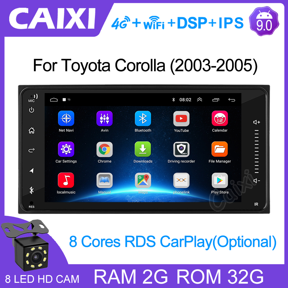 2din Universal android 9.0 Car Radio Player Stereo Car Multimedia Player for toyota COROLLA VIOS CROWN CAMRY HIACE PREVIA RAV4(China)