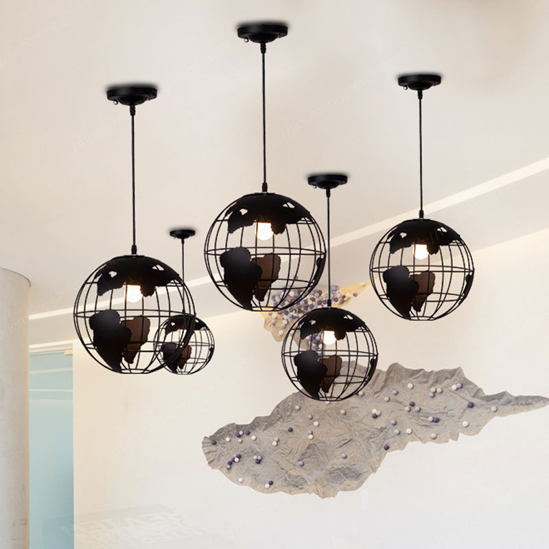 Nordic Earth Globe Pendant Lights Modern Metal Led Hanging Lamp Living Room Kitchen Bar Cafe Suspension Luminaire Home Art Decor