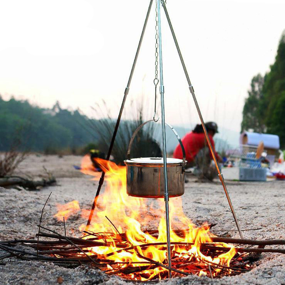 Camping Stove Hanging Pot Picnic Fire Bracket Cooking Bonfire Tripod Durable Portable Campfire Pot Cast Iron Fire Grill Tool