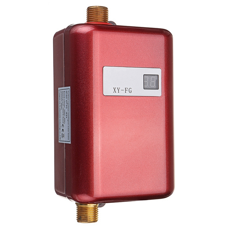 3800W Electric Water Heater Instant Tankless Water Heater 110V/220V 3.8Kw Temperature Display Heating Shower Universal-Red Us Pl