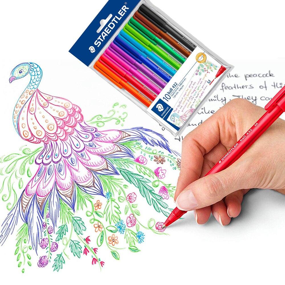 Staedtler Ball 432 M Triangle Holder Ballpoint Pen Rollerball Pen 0.7mm 10 Multicolour Art Supplies Painting Write Office School