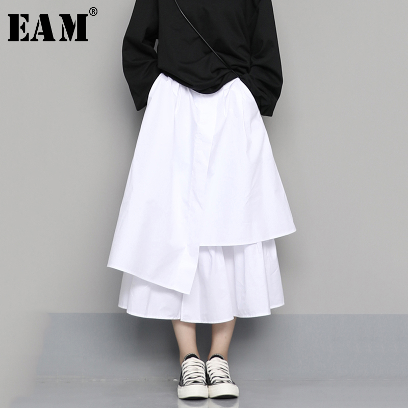 [EAM] High Elastic Waist Black Asymmetrical Split Temperament Half-body Skirt Women Fashion Tide New Spring Autumn 2020 1N609