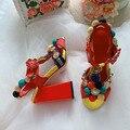 Colorido pom-pom embelezado sandálias de salto alto boêmio sapatos femininos