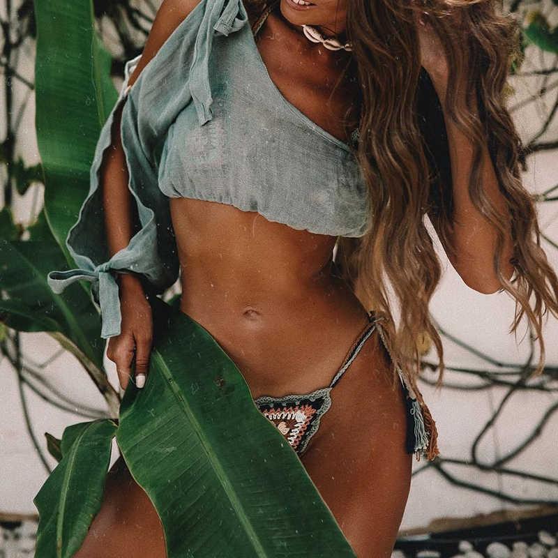 ב-X סקסי אחד כתף ביקיני למעלה קשר מוצק חוף שמלת נשים קיץ סרונג כיסוי ups חלול החוצה כיסוי עד חוף ללבוש