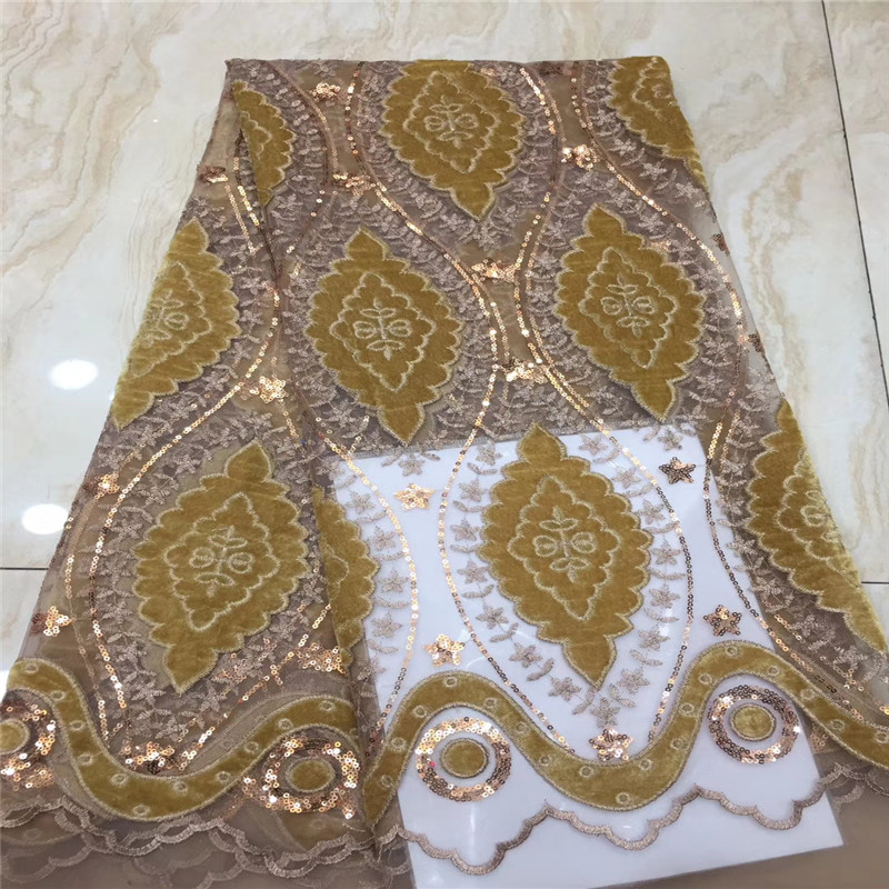 African Lace Fabric 2019 High Quality Lace Embroidery African Velvet Lace Fabric Sequins Fabric For Nigerian Wedding Gold