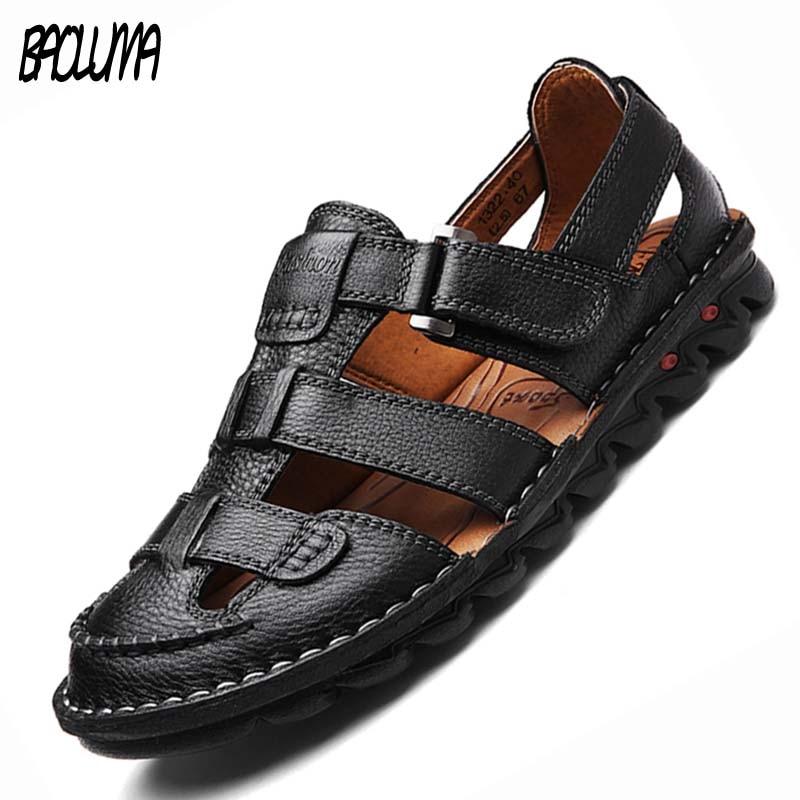 Brand Men's Summer Sandals Genuine Leather Sandals Outdoor Summer Handmade Men Slippers Shoes Men Beach Soft Breathable Sneakers