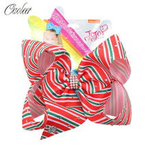7 Inch Stripped Hair Bows for Girls with Rhinestone Handmade Ribbon Clips Red Hairgrips Kids Accessories