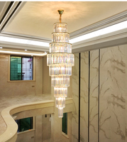Stair Lamp Crystal chandelier lighting Stairs Long Chandeliers Crystal Suspension Light Living Room Stairs Hotel Lobby Light