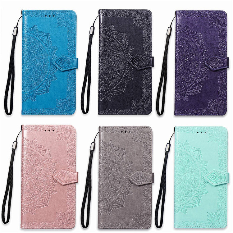 3D Rose Leather Printed Flower <font><b>Case</b></font> for Samsung Galaxy M10 M20 M30 M30S M40 Note Edge N9150 <font><b>N915</b></font> Flip Wallet Cover with Strap image