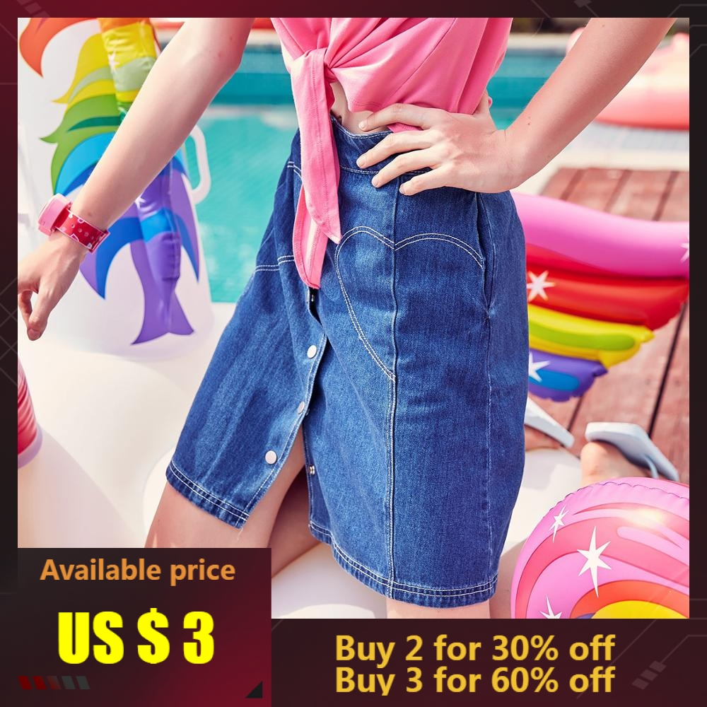 Skirt Button A-Line Metersbonwe High-Waist Women Summer New-Arrivals Denim Poke Male