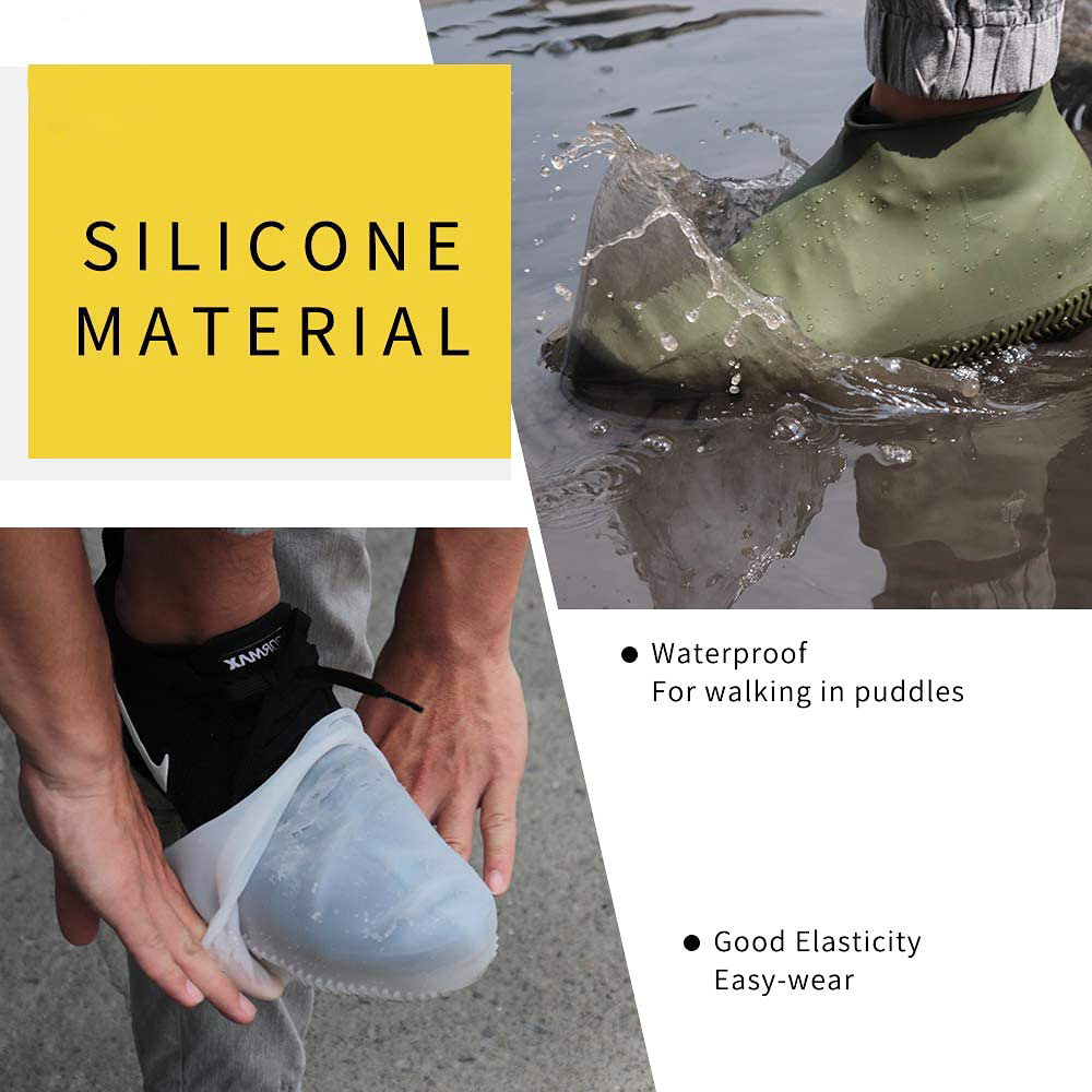 Waterproof Shoes Covers Environmental Protection Reusable Anti-Slip Motorcycle Rain Boot Soft Cover Silicone Elastic-1