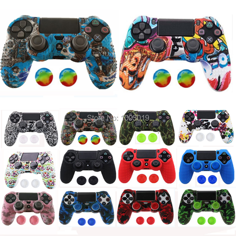 Anti-slip Silicone Rubber Cover Skin Case For Sony PlayStation 4 PS4 Pro Slim Controller With 2 Joystick Caps