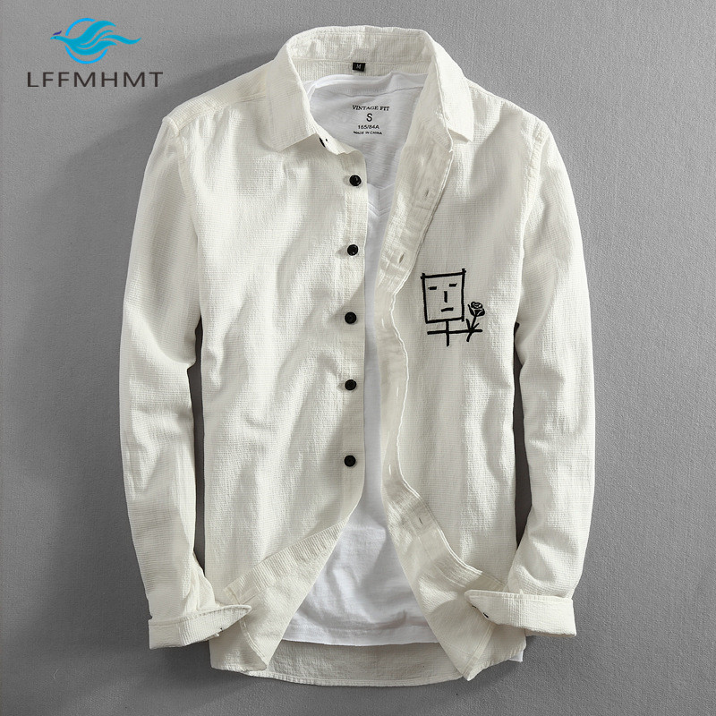 Men Spring And Autumn Fashion Brand Japan Style Character Flower Embroidery Cotton Long Sleeve Shirt Male Casual Kawaii Shirts