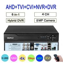 8MP 4K Surveillance Camera XMeye Audio Face Detect Hi3521D 4CH 4 Channel Hybrid WIFI 6 in 1 H.265+ XVI TVI CVI NVR AHD CCTV DVR
