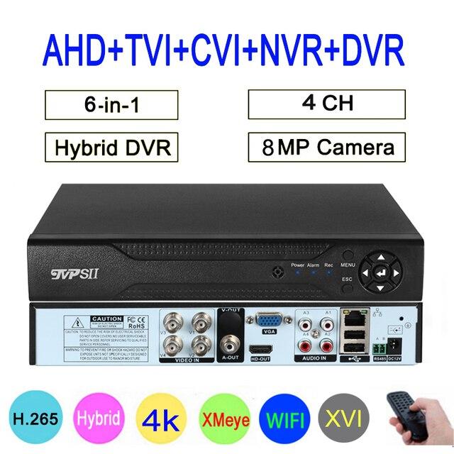8MP 4K מעקב מצלמה XMeye אודיו פנים לזהות Hi3521D 4CH 4 ערוץ היברידי WIFI 6 ב 1 H.265 + השישה עשר TVI CVI NVR AHD CCTV DVR
