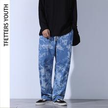 Tfetters летние тонкие модные мужские джинсы свободные шнурки