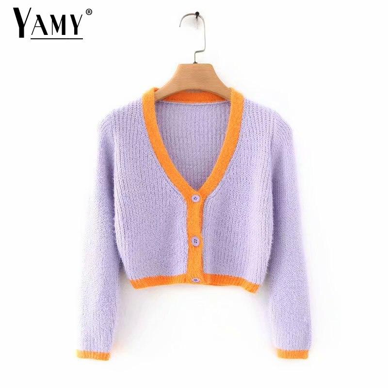 Knit Pink Sweater Knitted Crop Cardigan Women Long Sleeve Crop Top Sweater Woman Vintage Ladies Sweaters Korean