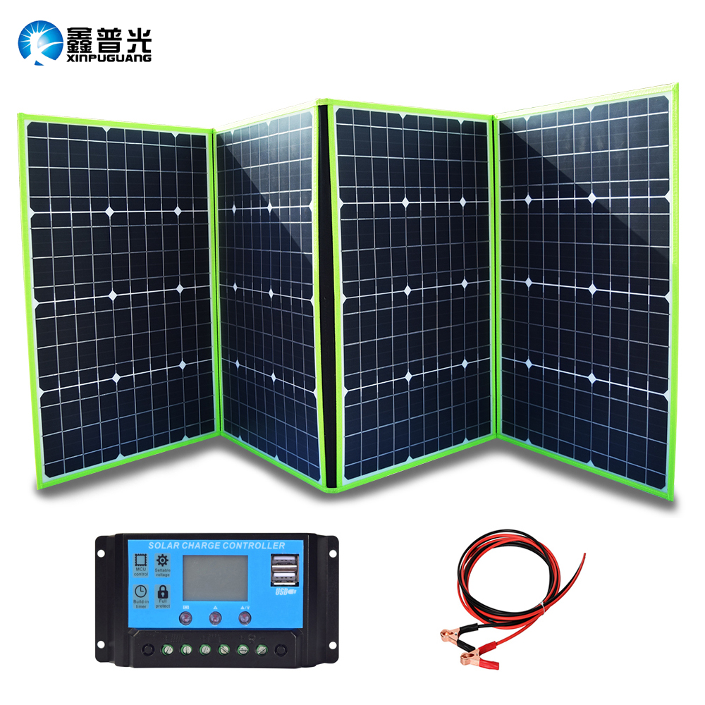 XINPUGUANG 200W 20V Portable Solar Charger Foldable Solar Panel Generator with Charge Controller for Battery Camping Travel RV