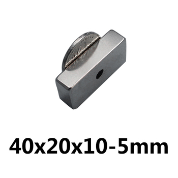1/2/3PCS 40x20x10-5mm Powerful Block Magnets Strip Double Holes 5mm Permanent Magnet N35 NdFeB Neodymium Magnet 40*20*10-5mm image