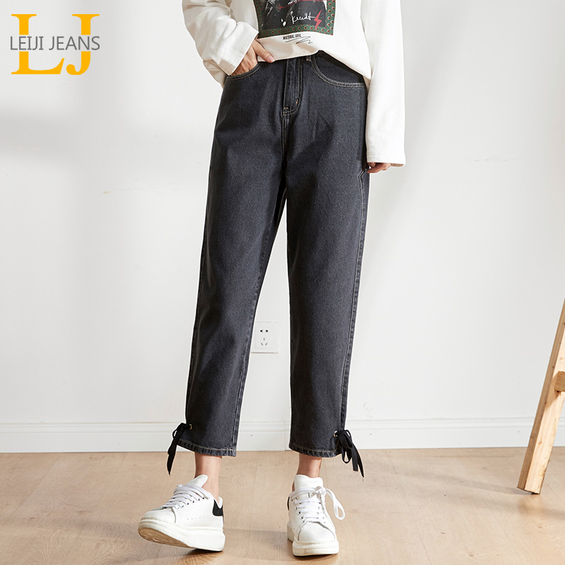 LEIJIJEANS New Large Size Women's Non-elastic High Waist Loose Jeans Loose Casual Black Gray Big Haren Ladies Washing Jeans 9149