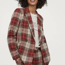2020 new Spring Summer European Red Grid Double Breasted zaraing women Suit jacket
